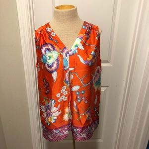 Violet and Clare red sleeveless floral shirt